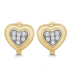 Pendientes De Plata Esterlina Corazón Huggie Pendientes de Oro Plateado