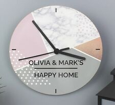 Personalised Geometric Glass Clock Kitchen Wall Clock - New Home Wedding Gift