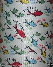 """7/8"""" ONE FISH TWO BLUE RED FISH DR SEUSS GROSGRAIN RIBBON CAT IN THE HAT"""