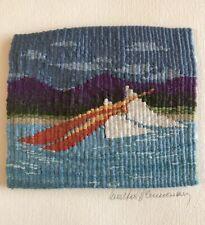 VTG HANDWOVEN Landscape Sailing TAPESTRY WALL TEXTILE FOLK Art Walter Blumenau