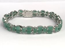 .925 Silver Tennis Bracelet, Natural Oval Emerald 6.75 Inches , 16TCW