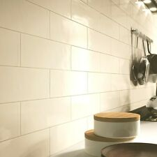 Subway Gloss Flat White Metro Ceramic Wall Tiles 10 X 20cm 1m² - 50 Tiles