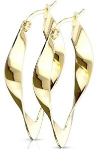 *NEW & SEALED - 40mm Quality Gold Large Twisted Hoop Pair Of Earrings