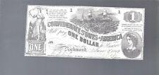 1862 $1 Dollar Bill Confederate States Lucy Pickens Civil War Note Money T-44