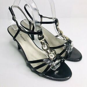 HUSH PUPPIES US 9 EU 40 Black Patent Leather 'Stamp' Mid Heel Strappy Sandals