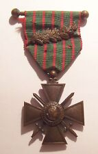 VINTAGE WW I French Croix de Guerre Medal War Cross with PALM 14-16 on Bar