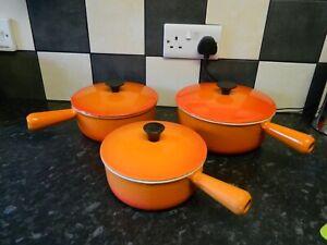Cousances / le creuset cast iron saucepan set - 3 saucepans - orange finish