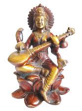 SARASWATI Statue Messing H=25 cm Bharati Sarasvati Statuette Shakti Hinduismus