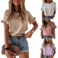 Women's Ladies Frill Ruffle Short Sleeve Fashion Summer Tees T-Shirt Loose Tops