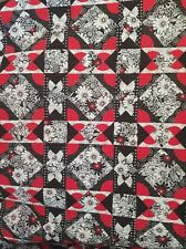 Garden Path in Red, Black and White Bed Quilt