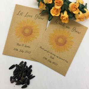 10 x Personalised Sunflower Seed Wedding Favours Communion Christening Baby Show