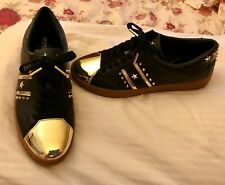 Michael Kors MK Black/Gold Toe Leather Sneakers/Trainers Sz 6.5