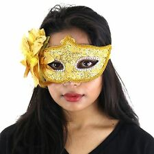 Gold Deluxe Fancy Dress Masquerade Lace Mask with Sequins & Flowers - Aletta