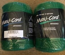 Lot of 2 Maxi-Cord Macrame Braided 6mm 100 Yds Each Kelly Green