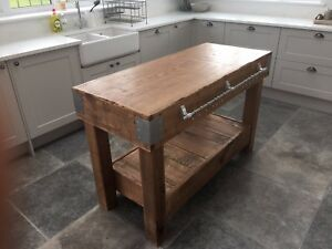 HUGE English OAK butchers block kitchen island table storage furniture vintage