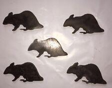 "5 Pc Set Rat Silhouette Steel Target 8"" X 5"" Rimfire .22 9MM"