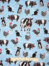 Farm Animal Fabric - Cow Pig Rooster Dog Cat Robert Kaufman #14823 Blue - Yard