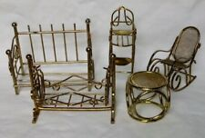 Lot of 5 Pcs Miniature Brass Dollhouse Furniture Daybed Highchair Bassinet Other