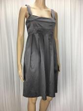 ** SABA ** As New * Size 8 Silver Grey Silk Blend Babydoll Pleat Dress - (B032)