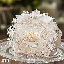 20 Laser Cut Luxury Wedding Party Happy Sweet Decor Favors Gift Candy Box Ribbon