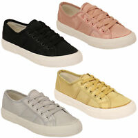 ladies satin trainers womens flat lace up canvas pumps plimsolls shoes fashion