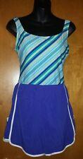 Gabar Women's One piece Swimsuit Shorts Shortini Striped Top SZ 10