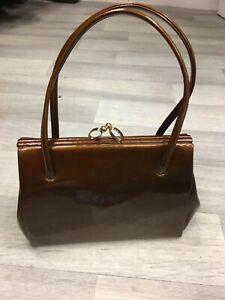 1940's/1950's vintage brown patent leather handbag