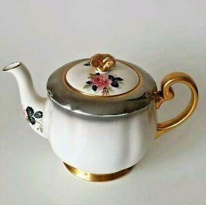 Vintage WINDSOR 1940s 2 pt Teapot  Roses Pewter Lustre Gold Tea Pot