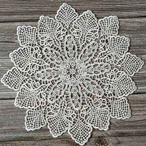 Round Lace Table Cover Dining Doily Guipure Floral Embroidery Party Home Decor