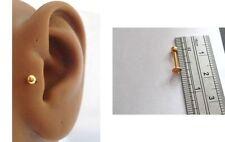 Gold Titanium 3mm Ball Tragus Ear Stud Barbell Post 16 gauge 16g