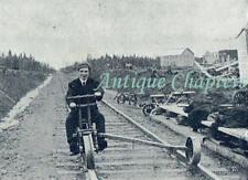 c1910 Railbike Railway Cycle Lay Evangelist NW Canada Postcard C252
