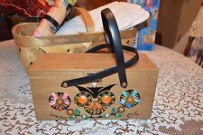 vintage enid collins texas wood box jeweled purse handbag Owl