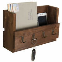 4-Hook Rustic Wood Wall-Mounted Key & Letter Organizer Rack