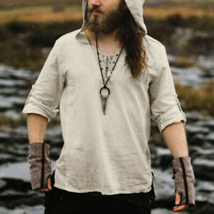 Medieval Renaissance Top Shirt Cosplay Costume Pirate Men's Hooded Jacket