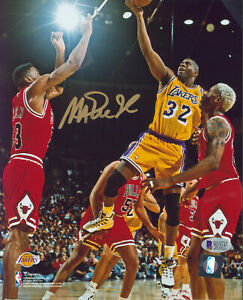 Lakers Magic Johnson Authentic Signed 8x10 Photo Vs Bulls BAS Witnessed