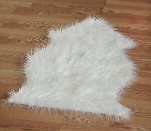 White long hair Faux Sheepskin Fur Single Pelt rug 2' x 3'