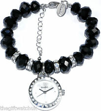 Womens New Henley Black Beads & Sparkly Crystals Bracelet Charm Watch Gift Boxed