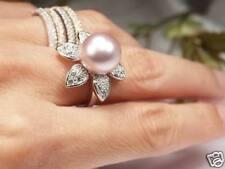 DE LUXE 14mm Lavande Noyau de coquillage Perles Anneau Or blanc plaqué (R1)