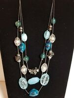 NY Statement Necklace Triple Layered Chain Blue Green Crackle Beads