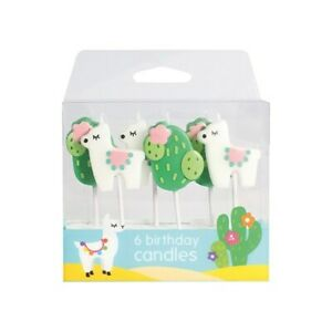 Llama & Cactus CANDLES 6 Piece Set Birthday Party Cake Cupcake Toppers
