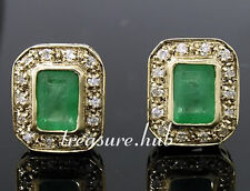 CE305- Stunning Genuine 9ct Gold NATURAL Emerald & Diamond Stud Earrings