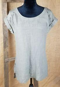 Maurices women small tunic short sleeve shirt Hi-Low studs back keyhole olive