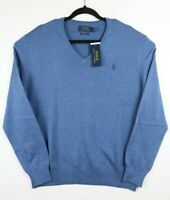 NWT Polo Ralph Lauren Mens Large Pima Cotton V-Neck Long Sleeve Sweater Blue