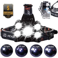 50000LM 5 Head CREE XM-L T6 LED 18650 Headlamp Headlight Flashlight Head Torch