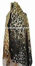 Large Stunning 2-Ply 100% Cashmere Pashmina LEOPARD Shawl Wrap, Yellow/Black