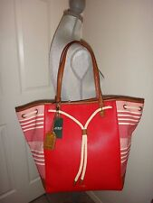 e6b8fc04b3 RALPH LAUREN Oxford Women s Striped Large Bag Tote Gold Red White Brown  Leather