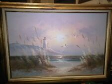 Lighthouse Seascape Oil Painting Signed by B. Duggan 36X24