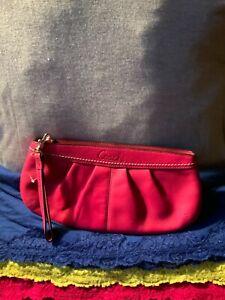 Coach Hot Pink Leather Pleaded Zip Handbag Purse Wallet Clutch Pouch Wristlet