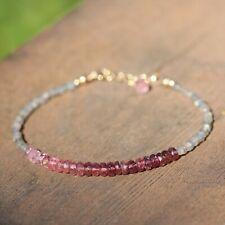 Natural Labradorite and Pink Tourmaline Bracelet Solid 14k Yellow Gold , October