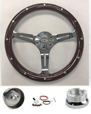 "Blazer C10 C20 C30 Pick Up 15"" Dark Wood Steering Wheel on Chrome Bowtie Cap"